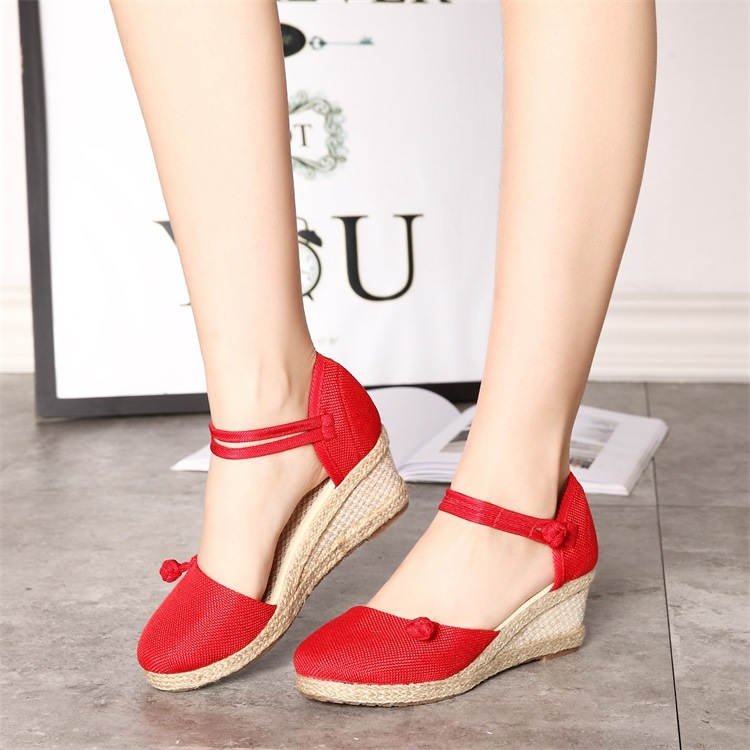 Sexy Cut Out Weave Women High Heel Sandals Wedges Shoes Cutout Woman Summer Shoes Plus Size 35-40