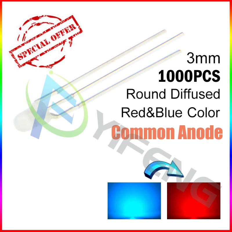 1000pcs/lot diffused 3mm bi-color round dip led dual led multi-color red and blue led common anode