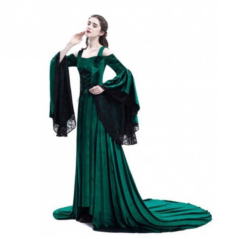 2018 New Vintage Women Cold Shoulder Long Halloween Dress Plus Size Medieval Dress Flare Sleeve Cos Clothing Dresses in Dresses from Women 39 s Clothing