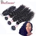 Курчавый Бразильский Девственные Волосы С Закрытием Бразильские Вьющиеся Волосы 3 Пучки С Закрытием Бесплатный/Ближний Часть Кружева Закрытие С пучки