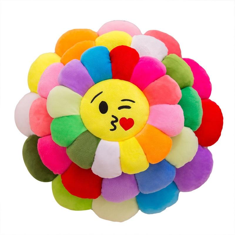 Cartoon Sun Flower Plush Toy Stuffed Soft Kawaii Variety Expression Plush Pillow Sofa Cushion 28CM Boy Girl Toys For Children