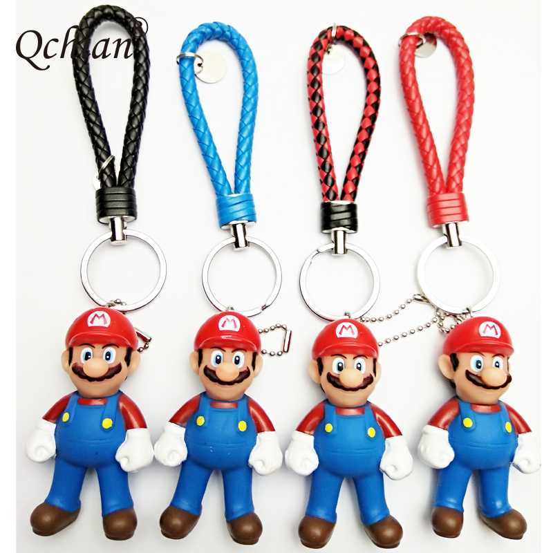 Super Mario 3D Plastic Four-color Leather Cord Decoration Pendant Jewelry Keychain Cute Gift For Kids