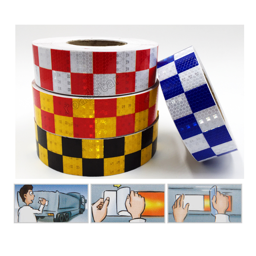 5cm X 10m Acrylic Adhesive Shining Reflective Warning Tape / Square Printing reflective tape for cars safety 5cm 45 high visibility reflective tape white and red reflective warning tape directly paste for van car warning posted