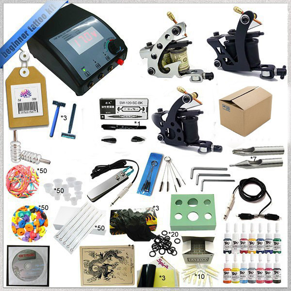 High quality 3 Guns Complete Tattoo Kit Equipment Sets Rotary Machine+Ink +Power Supply +Needle + CD for Beginners Body Art professional tattoo kit 5 guns complete machine equipment sets teaching cd ink for beginners body art beauty tools tk 2509 m