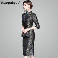 Hot Black Print Bird Chinese Femal Party Dress 2019 New Year Sexy Midi Cheongsam Elegant Slim Bodycon Plus Size M L XL XXL
