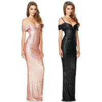 Pink Black Women Straight Sexy Party Dress Spaghetti Strap Sequined Elegant Ladies Dresses Deep V Womens Bodycon Slim Maxi Dress