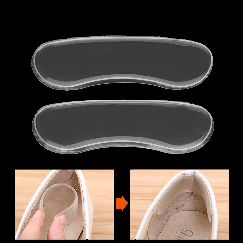 2 Pairs Silicone Gel Gel Inserts Women Insole Heel Cushion Protector Foot Feet Care Pad Insole For High Heel Shoe