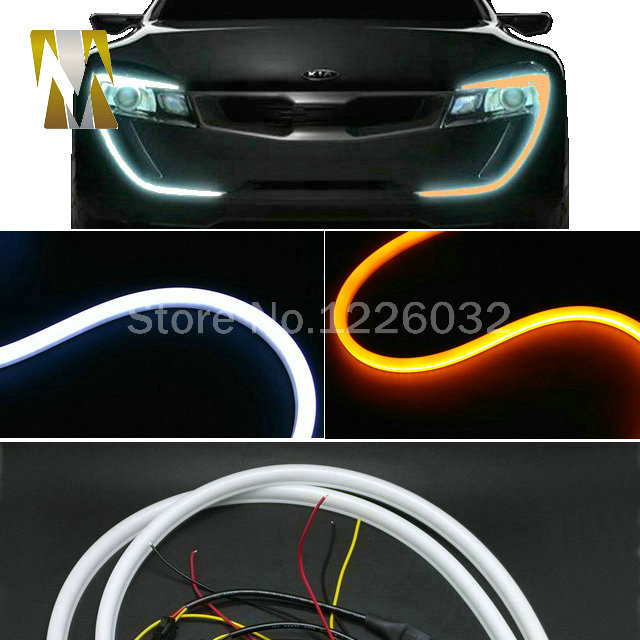 60CM LED Flexible DRL Soft Strips LED Daytime Running Lights LED Tube Light White Yellow Switchback