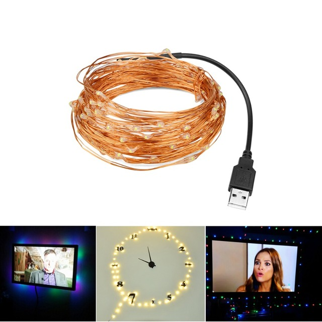 10m 5m LED Strip USB Cable Charging 5V Copper Wire Flexible Starry ...