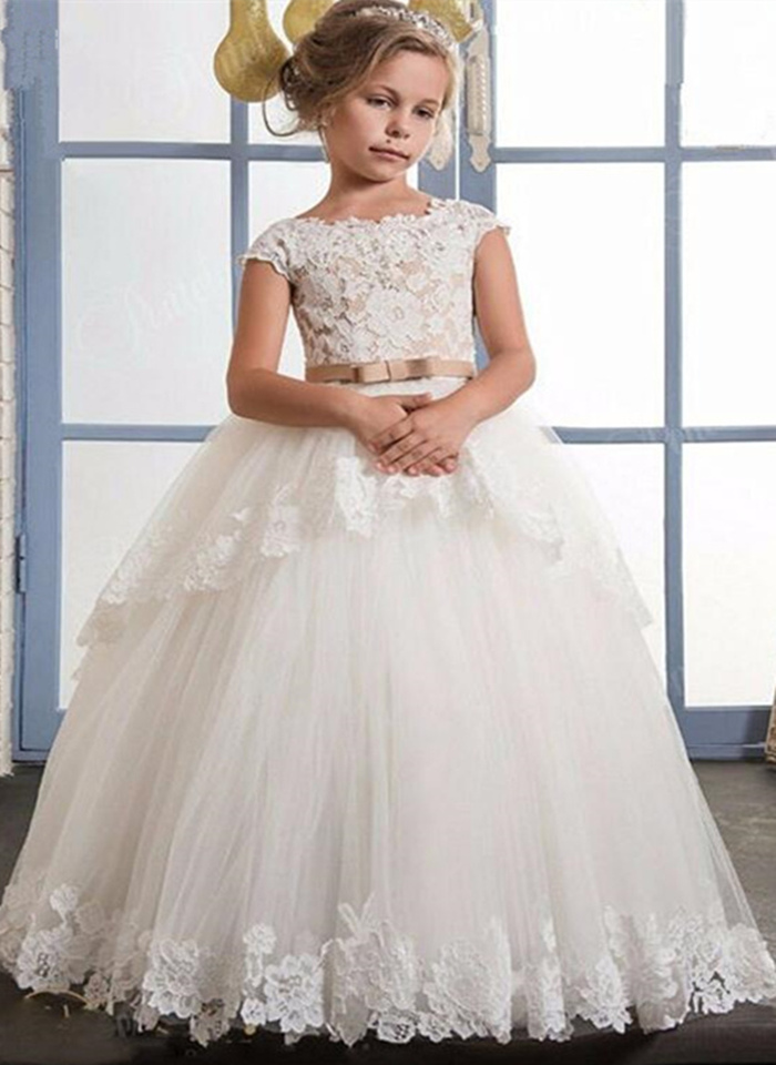 Cap Sleeves 2019   Flower     Girl     Dresses   For Weddings Ball Gown Tulle Lace Appliques Long First Communion   Dresses   For Little   Girls