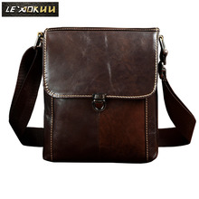 New Fashion Real Leather Male Casual messenger bag Satchel cowhide 8″ Pad Cross-body Shoulder bag For Men 329