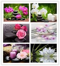 ダイアモンド絵画5Dフル平方/ラウンド仏教キャンドルと花ダイヤモンド塗装ラインストーンクリスタルクロスステッチモザイク160QW