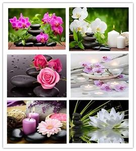 Image 1 - Daimond 그림 5D 전체 광장/라운드 불교 양초와 꽃 다이아몬드 페인팅 라인 석 크리스탈 크로스 스티치 모자이크 160QW
