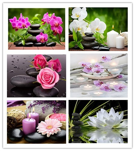 Daimond 그림 5D 전체 광장/라운드 불교 양초와 꽃 다이아몬드 페인팅 라인 석 크리스탈 크로스 스티치 모자이크 160QW