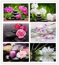 Daimond Tranh 5D Full Vuông/Vòng Phật Giáo Nến Và Hoa Tranh Gắn Đá Pha Lê Chéo Nữ Thời Trang Khảm 160QW