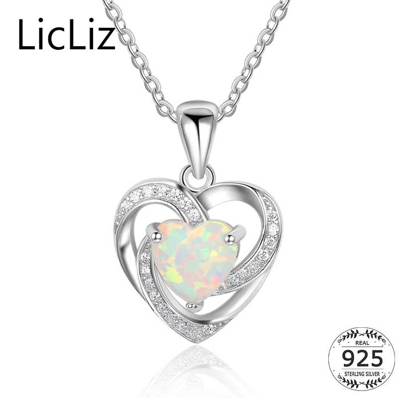 LicLiz 925 Sterling Silver Opal Necklace Women Cubic Zirconia Heart Pendant Necklace Collar Dangle Hollow Drop Necklace LN0247