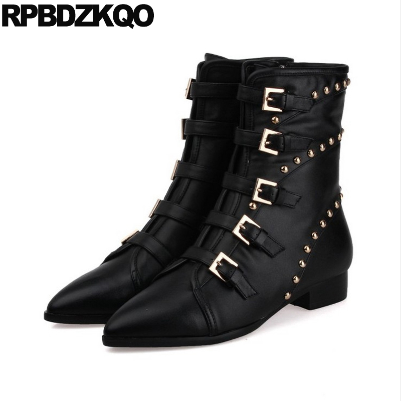 Fall Metal Punk Rock Boots Women Stud Autumn Black Pointed Toe Flat Belts Rivet Genuine Leather Shoes Brand Female Ladies New women white brogue stud shoes british style metal flats rivet fashion oxfords black designer spring autumn punk rock belts zip