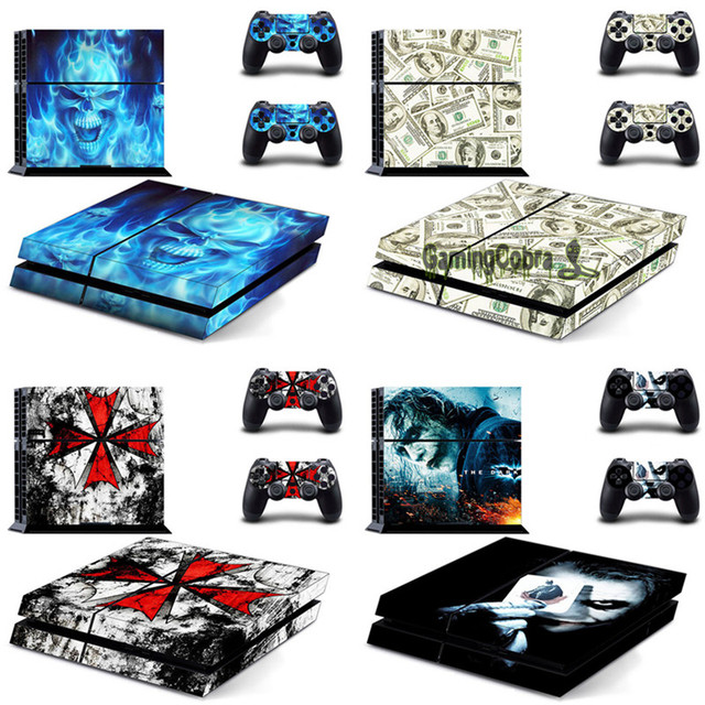 eXtremeRate Custom Design Protective Covers Skin Sticker for PS4 Console with 2 pcs