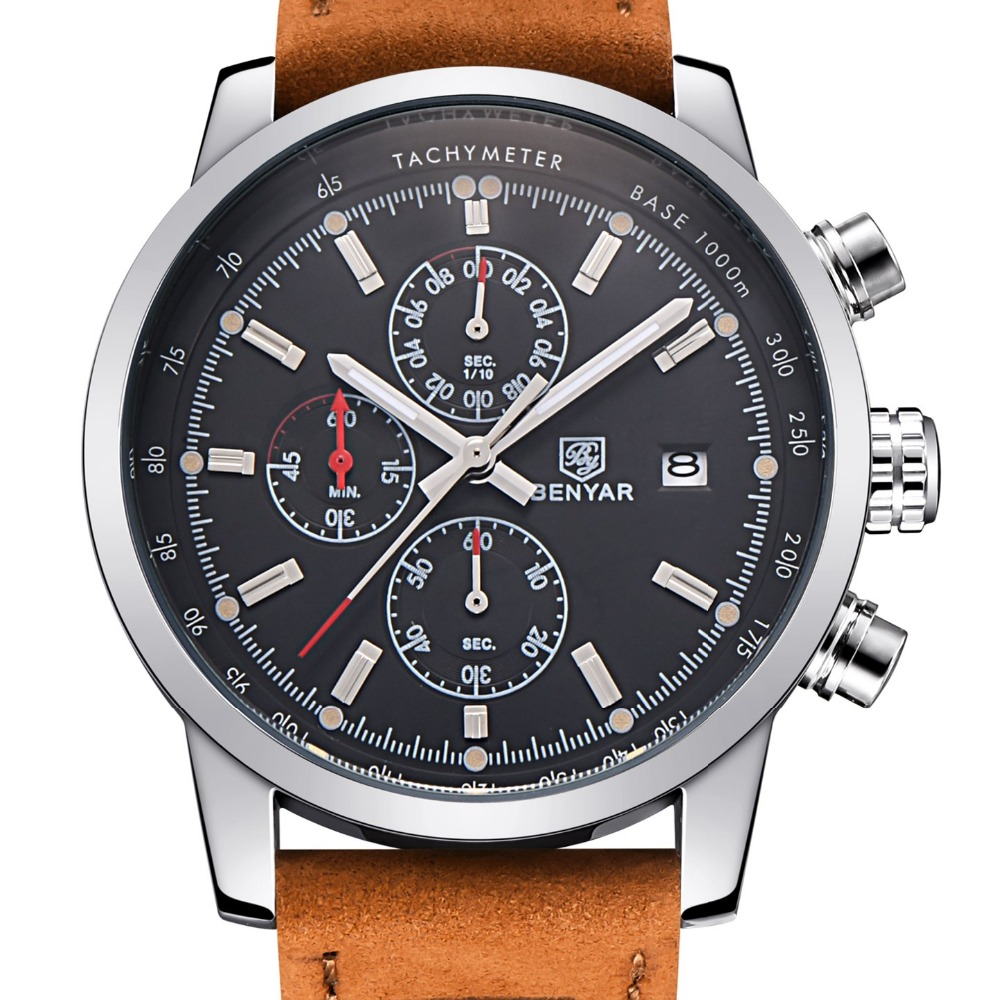 BENYAR Mode Chronographe Sport Mens Montres Haut Marque De Luxe Quartz Montre Reloj Hombre 2016 Horloge Mâle heure relogio Masculino