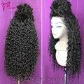 Cheap Peruano Virgem Cabelo Kinky Curly Perucas Glueless Parte Dianteira Do Laço Humano Perucas de cabelo encaracolado Cheia Do Laço Perucas de Cabelo Humano Para As Mulheres Negras