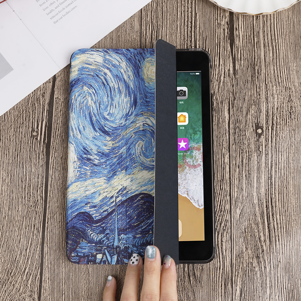 QIJUN Painted Case For iPad 10 2 inch 2020 PU leather Flip Stand Cover For iPad