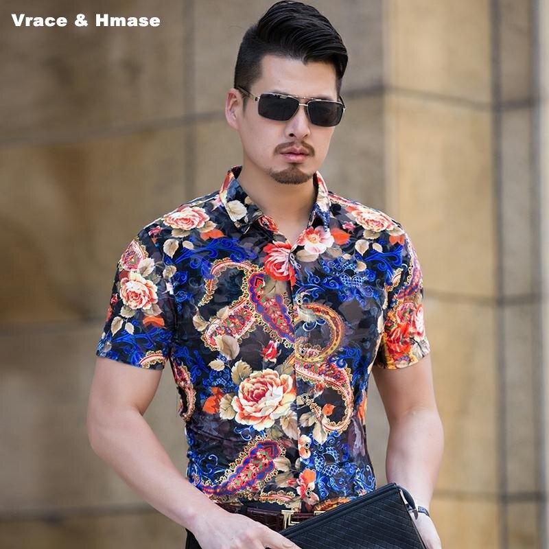 Style européen 3D exquis fleur motif mode slim manches courtes chemise été nouvelle qualité or velours soie chemise hommes M-XXXL