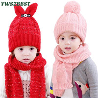 New Winter Baby Hat For Kids Bunny Ear Pom Pom Hat Scarf Set Winter Crochet Hat