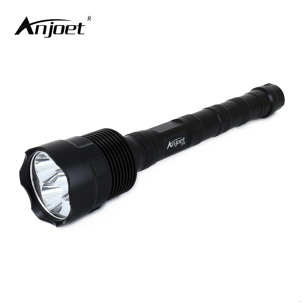 ANJOET LED Torch Light Lamp 6000 Lumens 5 Mode Switch Super Bright 3xXML XM-L T6 Single file LED Hunting Flashlight Lanterna 3T6 anjoet led hunting flashlight 6000 lumens 3 x xml t6 5mode 3t6 torch light suit gun mount remote pressure switch charger