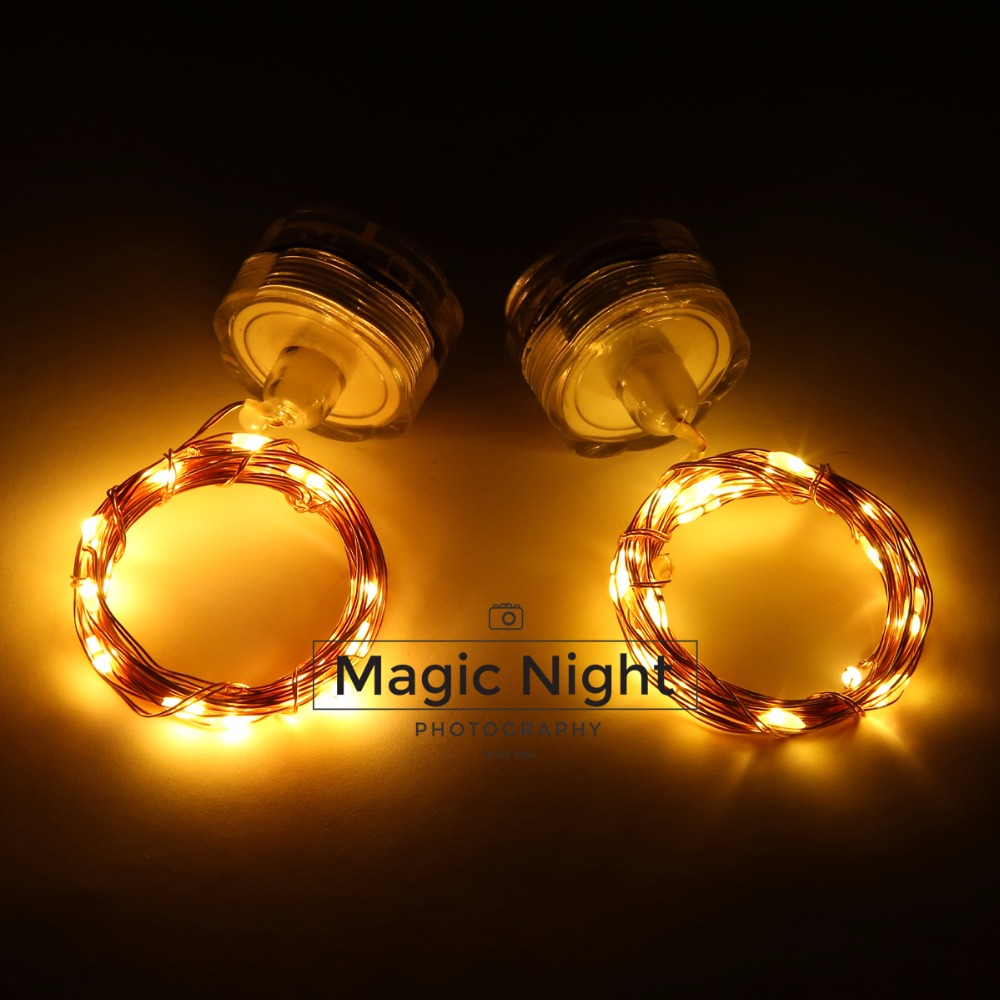 Magicnight Submersible Tea Lights 20 Leds Fairy String lights 7 ft Copper Wire,Set of 2 Warm White Color