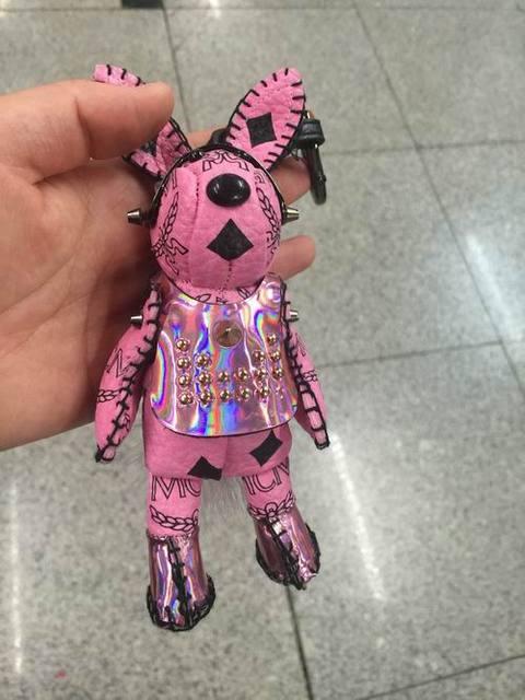 Steam punk Rabbit Keychain Pink Bunny Car Keychains Luxury  Leather Bag Charm Pendants Purse Charm White Real Mink Fur Tail bug