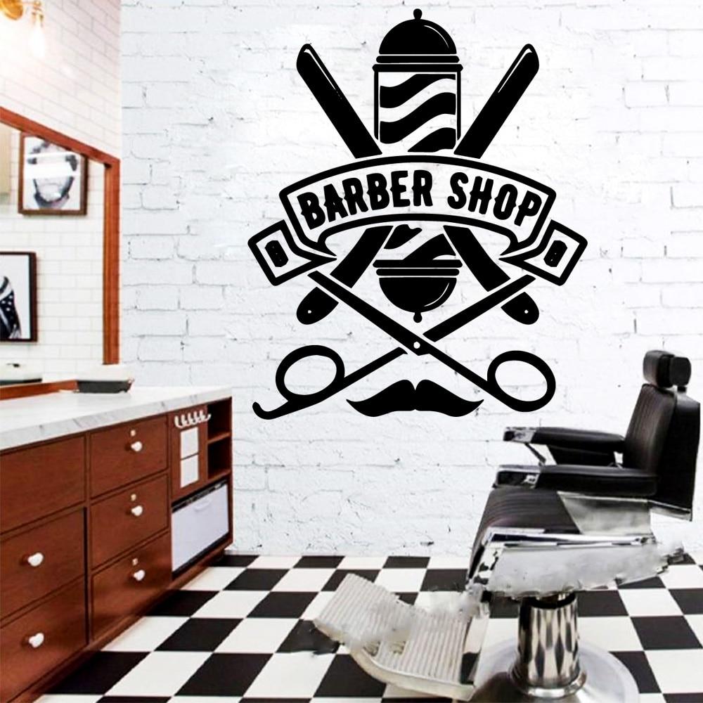 Creative Barber Shop Vinyl Wall Stickers Wallpaper Decor For Decoration Decals Sticker Murals wallstickers