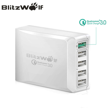 BlitzWolf BW-S7 Hızlı Şarj QC3.0 Adaptörü USB şarj aleti Akıllı 5 Port masaüstü şarj cihazı Cep Telefonu Seyahat akıllı telefon için şarj cihazı
