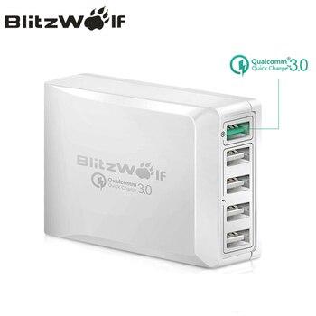 BlitzWolf BW-S7 szybkie ładowanie QC3.0 karta z ładowarką USB inteligentny 5 Port ładowarka biurkowa ładowarka podróżna do telefonu komórkowego dla Smartphone