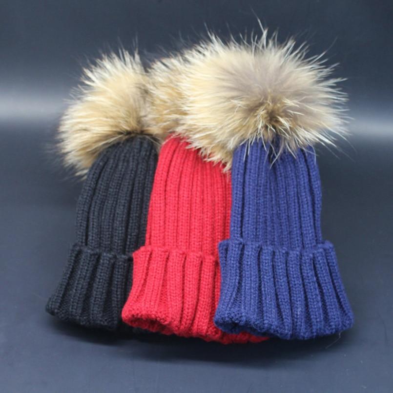 2018 Mode Anak Musim Dingin Topi Bulu Pompom Bayi Rajutan Topi hangat - Aksesori pakaian - Foto 6