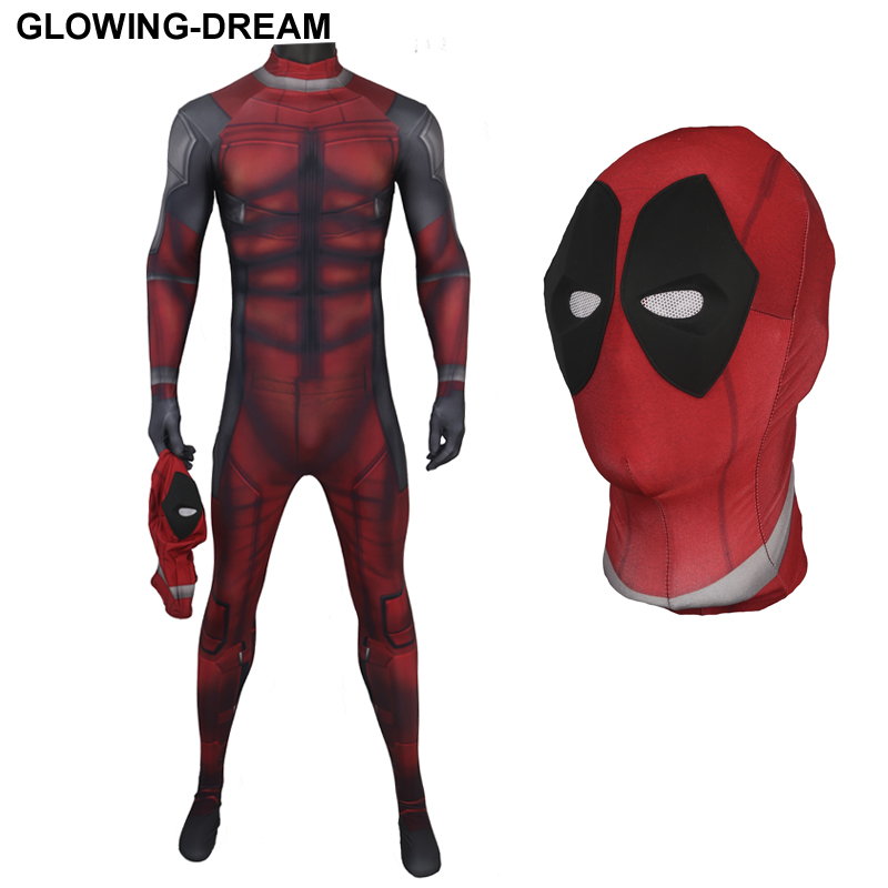 High Quality New Muscle Shade Deadpool Costume With U zipper 3D Print Deadpool Fullbody Zentai Suit Movice Deadpool Outfit