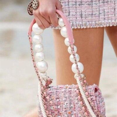 Luxury Beaded Pearl Bag Strap Women Ins Acrylic Beading Chains Shoulder Belt Brands Design Bags Accessory Bag Belt Bolsos Strap