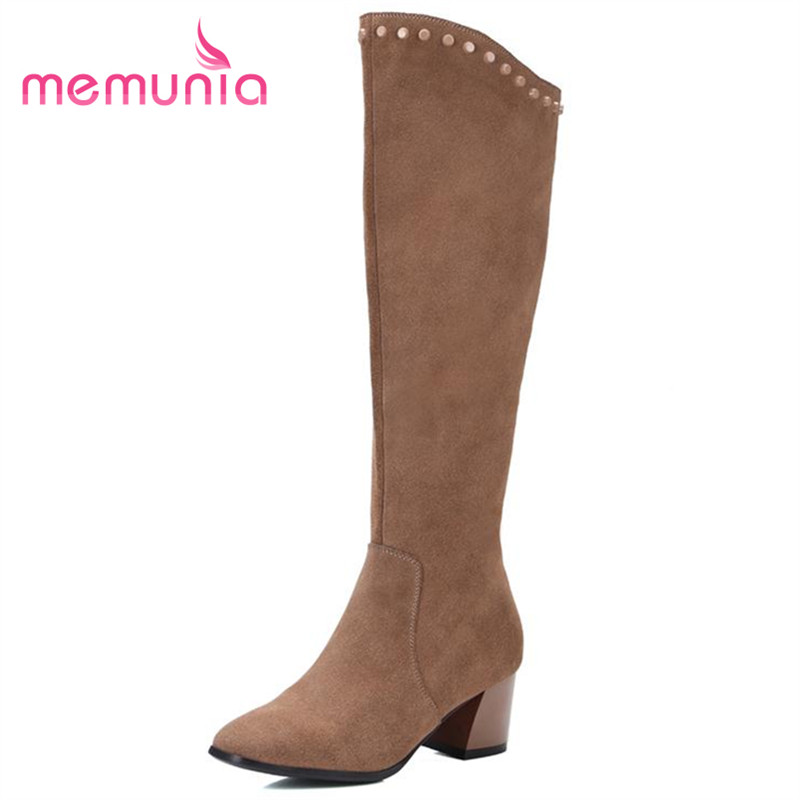 ФОТО MEMUNIA Punk fashion women shoes knee high boots med heels cowhide leather boots hot sale long boots rivets autumn