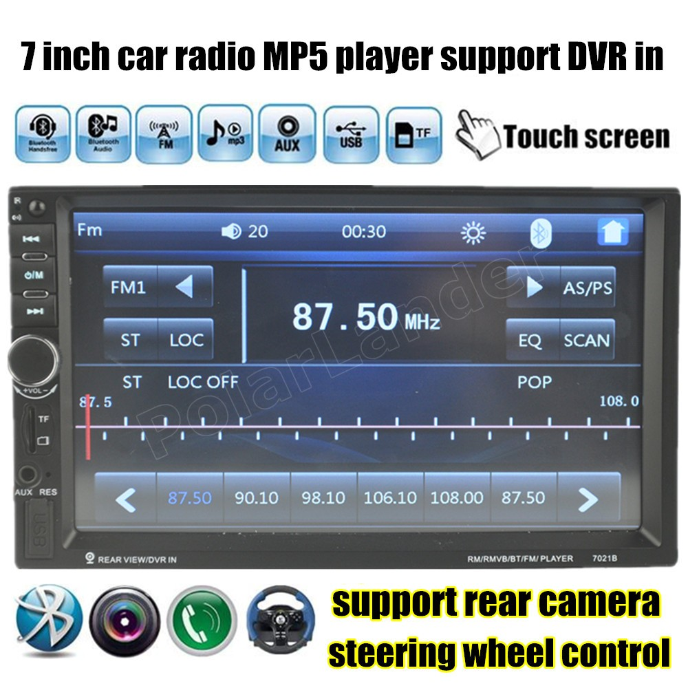 touch screen Car radio stereo 2DIN 7 Inch Bluetooth Audio In Dash Audio MP4 MP5 Player USB/TF/FM/AUX support rear camera/DVR in