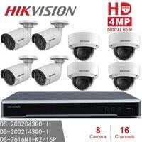 Система видеонаблюдения Hikvision Наборы NVR DS 7616NI K2/16 P 16CH 16POE + купол/пулевые Камера 4MP IP H265 видеонаблюдение Наборы безопасности для дома