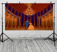 gold column palace Beauty beasts backdrop Vinyl cloth High Computer printed Painted wall photography studio background
