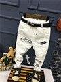2017 Primavera Outono novos meninos jeans Kids moda branco Crianças jean Calças Crianças Calças Buracos Quebrados Calças 2-6years