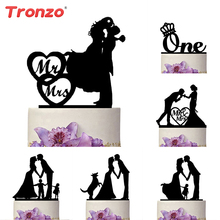Tronzo New Black Acrylic Wedding Cake Topper For Decor Mariage Mr Mrs Bride Groom Family Cake Toppers Bridal Shower Decoration
