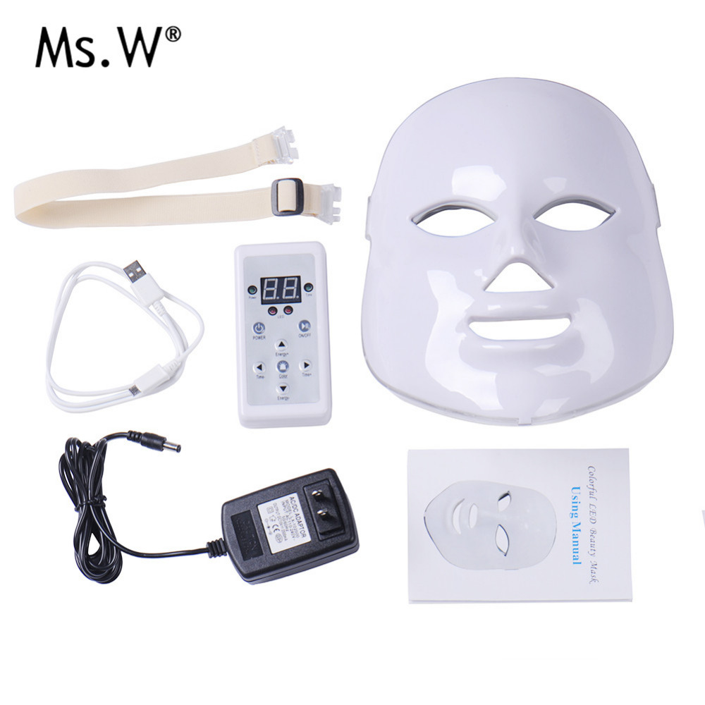7 Colors Electric LED Mask Light PDT Photon Face Skin Care Skin Rejuvenation Anti Acne Wrinkle Removal Therapy Beauty Salon portable home use led photon blue green yellow red light therapy beauty device for face and body skin rejuvenation firming