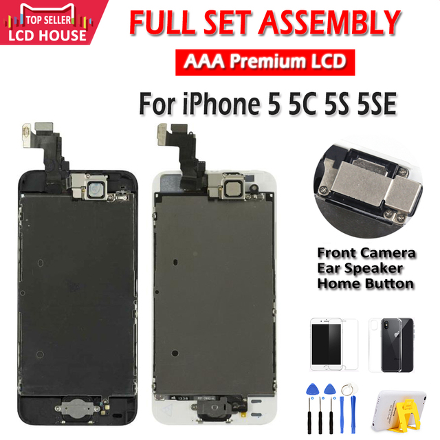 $ US $10.31 AAA Display for iPhone 5 5C 5S 5SE LCD Display Full Assembly LCD Touch Screen Digitizer Full Replacement Pantalla+Button+Camera