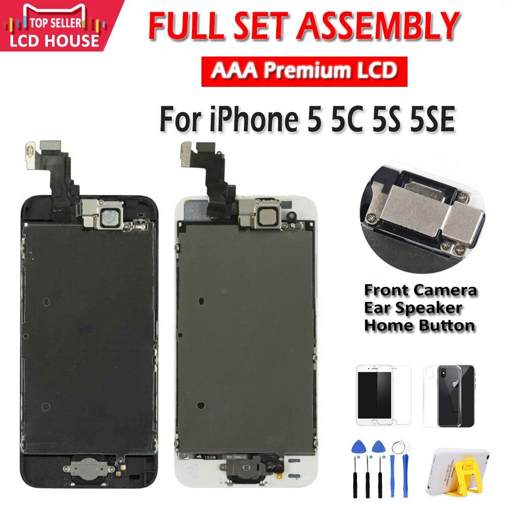 AAA ekran iPhone 5 için 5C 5S 5SE LCD ekran tam meclisi LCD dokunmatik ekran digitizer tam yedek Pantalla + düğme + kamera