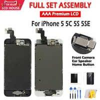 Pantalla AAA para iPhone 5 5C 5S 5SE Pantalla LCD montaje completo LCD Digitalizador de Pantalla táctil repuesto completo Pantalla + botón + Cámara