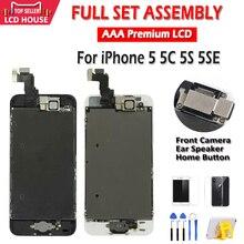 Tela AAA LCD, para iPhone 5 5C 5S 5SE, montagem completa, touch screen, digitalizador, substituição total, exibidor+botão+câmera