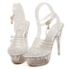 2018 Hot Newest Women Summer Sandals Transparent PVC Pumps 14cm High Heels Crystal Sexy Open Toe Platform Shoes MS-B0039