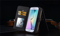 Retro Multi Function PU Leather Cover For Samsung Galaxy S6 S7 Edge Phone Case 2 In1