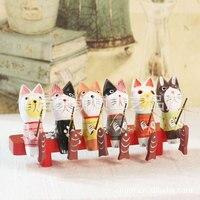 Fabbrica diretta creativo artigianato Decorazione Della Casa Della pittura set di sei gattini Balinese pesca JP0666